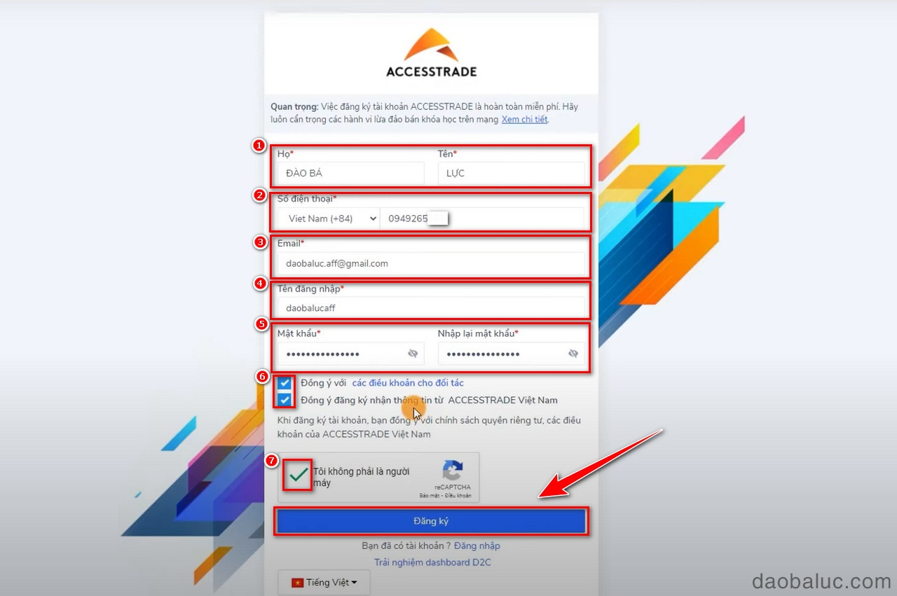 cách tạo tài khoản accesstrade
