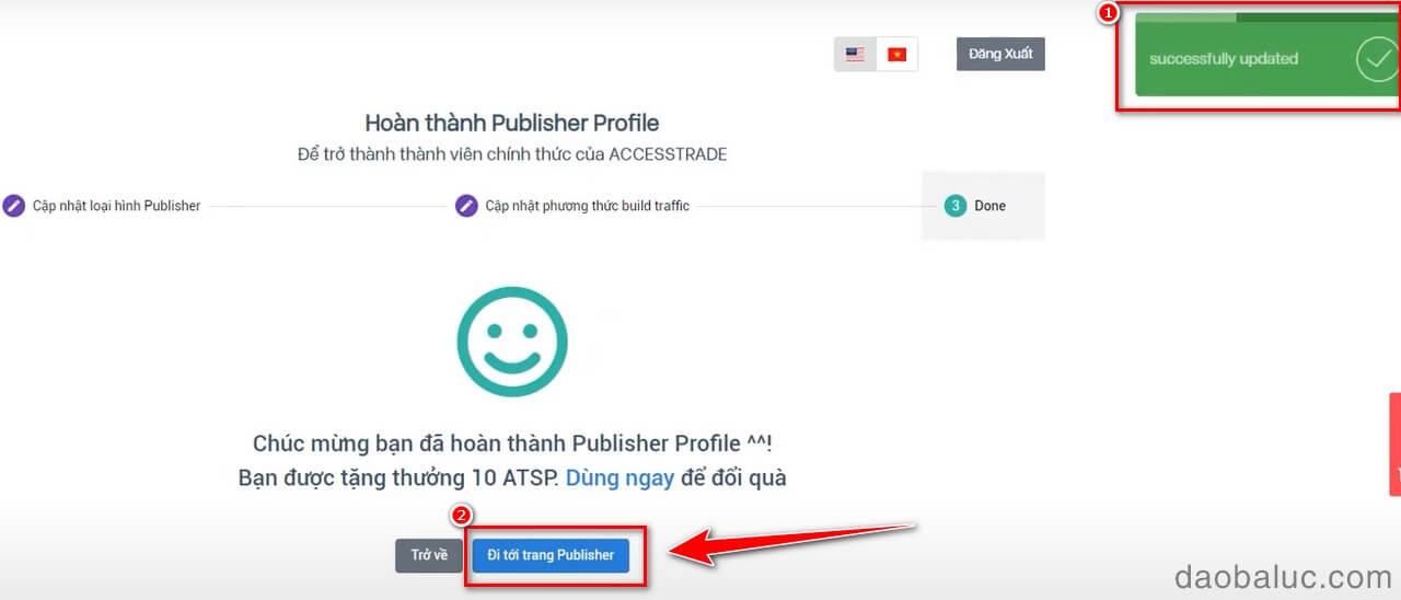 Thông báo hoàn thành Publisher profile